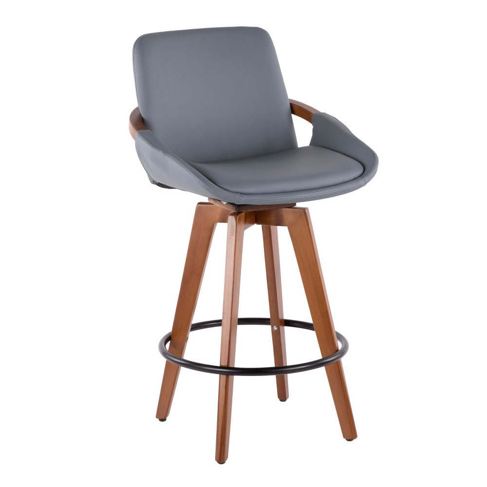 "Image of ""26"""" Cosmo Mid-Century Modern Counter Stool Gray/Walnut - LumiSource, Gray/Brown"""