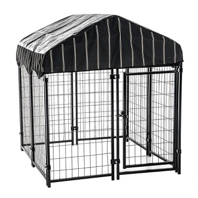 Lucky Dog 60548 4ft x 4ft x 4.5ft Uptown Welded Wire Outdoor Dog Kennel Playpen Crate with Heavy Duty UV-Resistant Waterproof Cover, Black