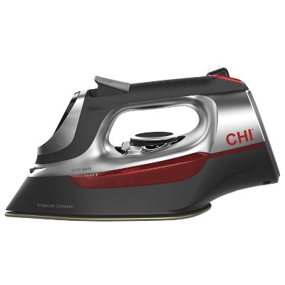 CHI Electronic Iron With Retractable Cord Red