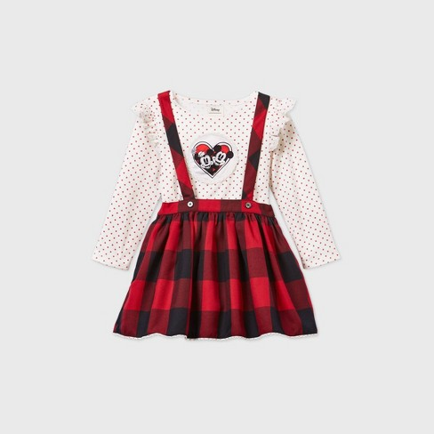 Toddler Girls' Mickey and Minnie Mouse Gingham Suspender Long Sleeve Dress - Red - image 1 of 2