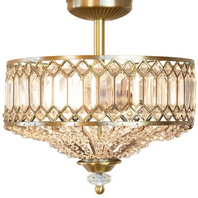 "15.25"" Glass/Metal Tiered Jeweled Semi Flush Mount Ceiling Lights - River of Goods"