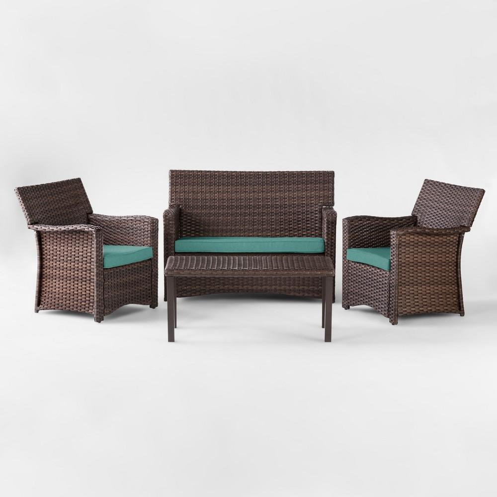 Halsted 4pc All Weather Wicker Patio Conversation Set - Turquoise - Threshold