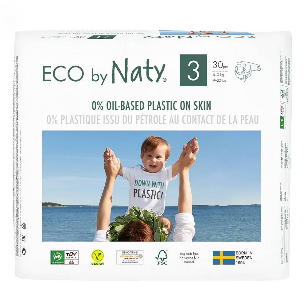 Eco By Naty 6pk Premium Disposable Diapers For Sensitive Skin Size 3 180ct
