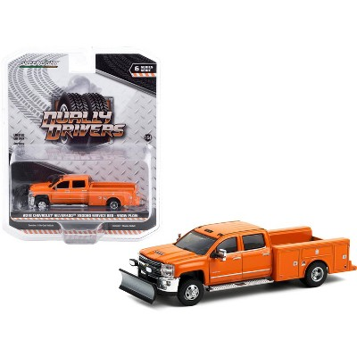2018 Chevrolet Silverado 3500HD Dually Service Bed Truck with Snow Plow Tangier Orange 1/64 Diecast Model Car by Greenlight