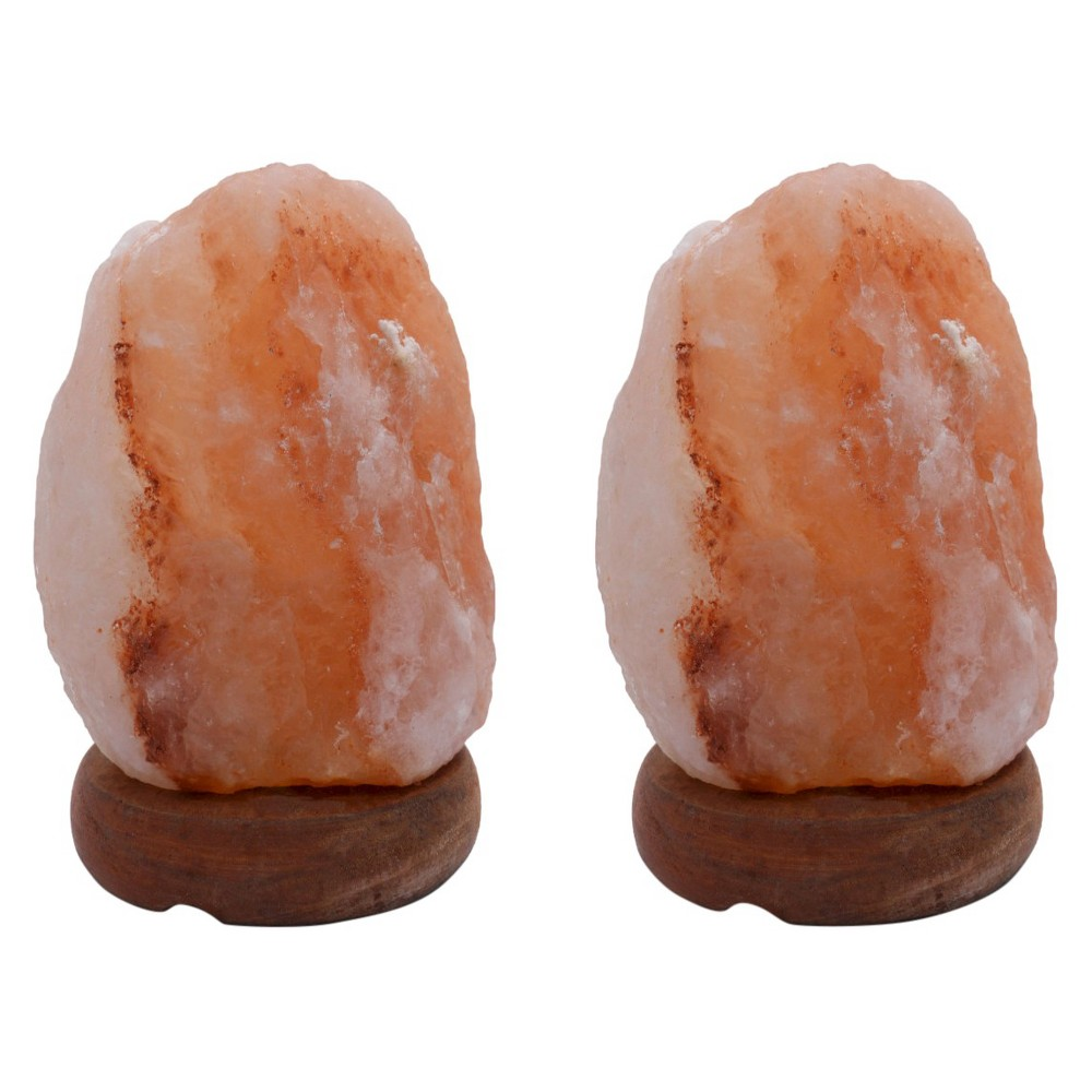 "Image of ""Accentuations by Manhattan Comfort Natural Shaped Himalayan Salt Lamp 1.8 Set of 2 With dimmer (""""8""""), Neutral"""