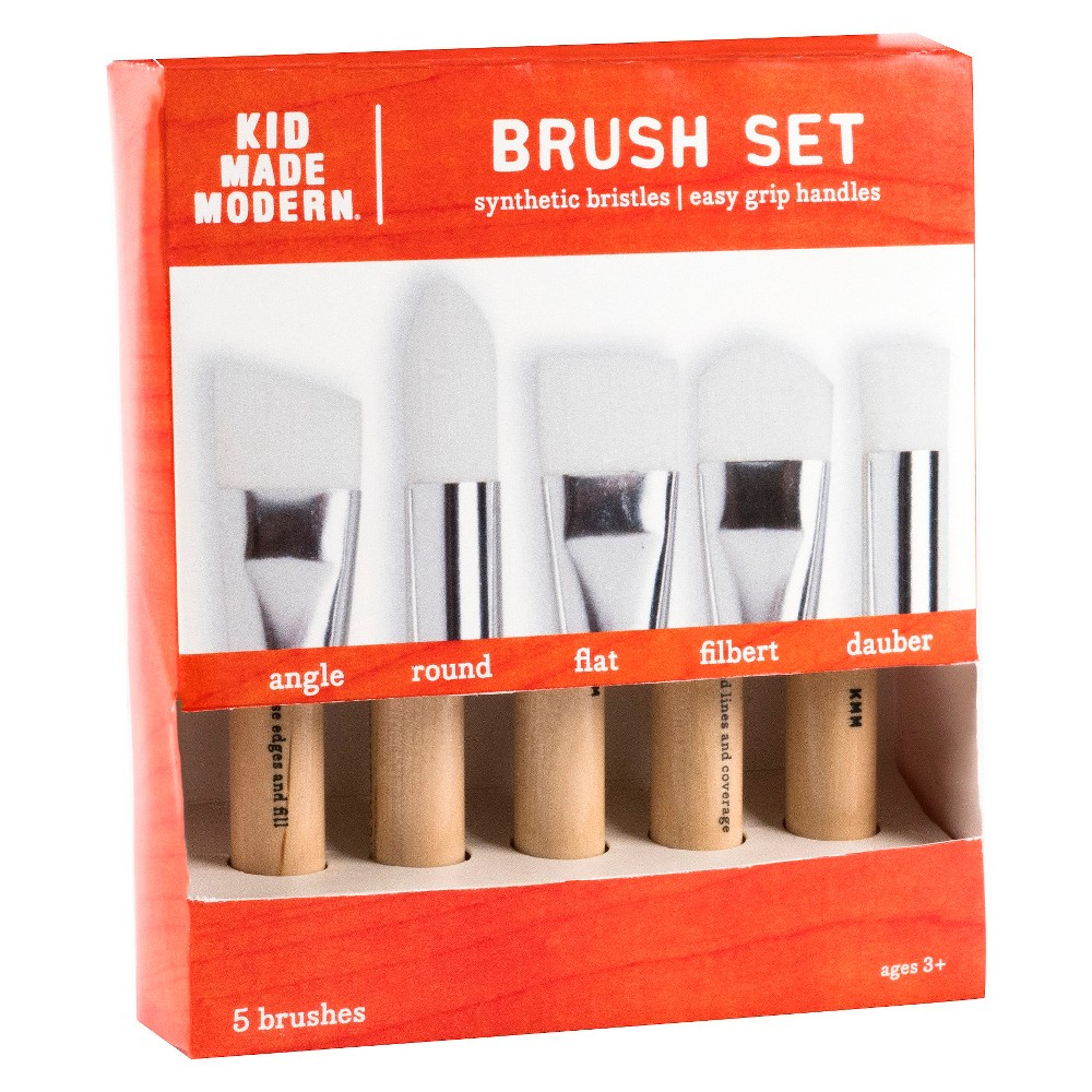 Kid Made Modern Paint Brush Set, 5ct, Britsh Khaki