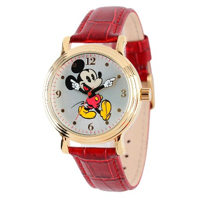 Women's Disney Mickey Mouse Shinny Vintage Articulating Watch with Alloy Case - Red