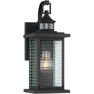 """John Timberland Modern Outdoor Wall Light Fixture Textured Black 13 3/4"""" Clear Stripped Glass Motion Security Sensor for Porch Entryway"""
