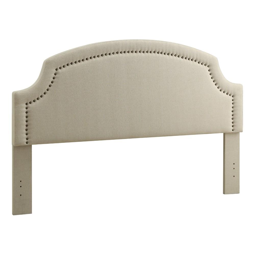 Regency King Size Headboard Light Off-White Linen - Linon