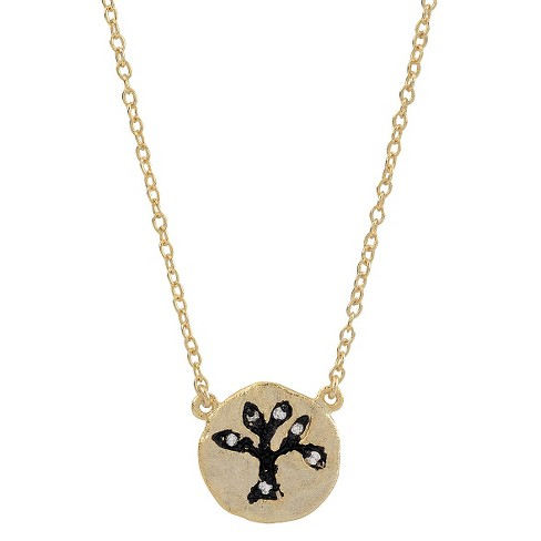 "1/10 CT. T.W. Round-cut CZ Pave Set Tree Pendant Necklace in Sterling Silver - Gold (16"") - image 1 of 2"