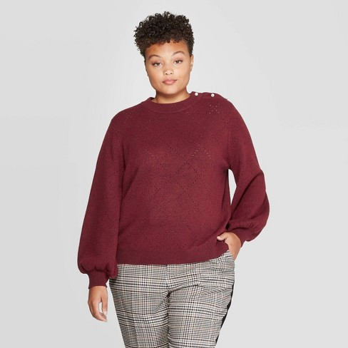 Women's Plus Size Crewneck Pullover Sweater - Who What Wear™ - image 1 of 3