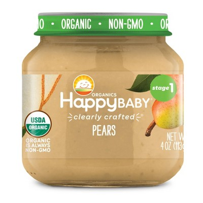 HappyBaby Clearly Crafted Pears Baby Food - 4oz