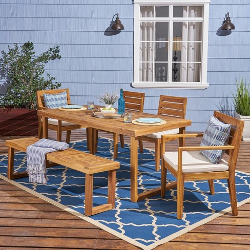 Nestor 6pc Acacia Wood Dining Set - Natural/Cream - Christopher Knight Home - image 1 of 4