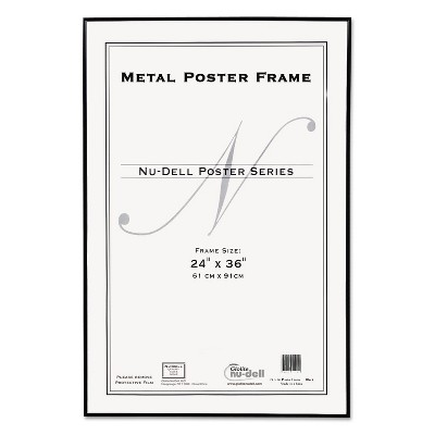 Nudell Metal Poster Frame Plastic Face 24 x 36 Black 31242