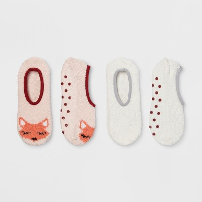 Women's Fox Cozy Liner 2pk Casual Socks - Peach One Size