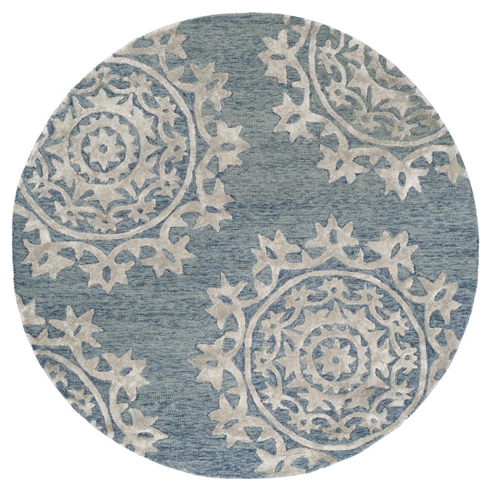 Blue Floral Tufted Round Area Rug 5' - Safavieh