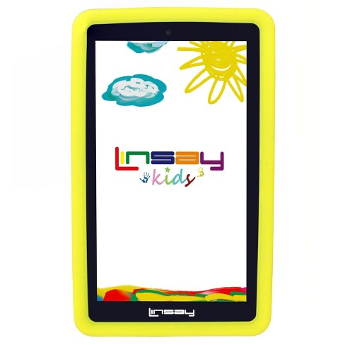 "LINSAY® 7"" Kids Funny Tablet 1024x600 HD Quad Core Tab Bundle with Kids Defender Case - Yellow - image 1 of 3"