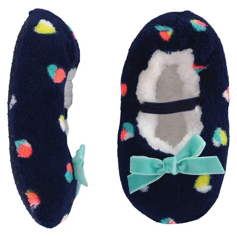 Toddler Girls' Mary Jane Slipper - Cat & Jack™ Navy Hearts - image 1 of 1