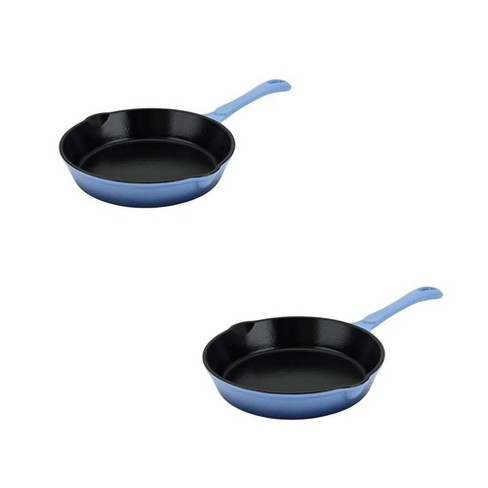 Hamilton Beach 8 Inch Enameled Cast Iron Fry Pan Skillet + 10 Inch Fry Pan, Blue - image 1 of 4