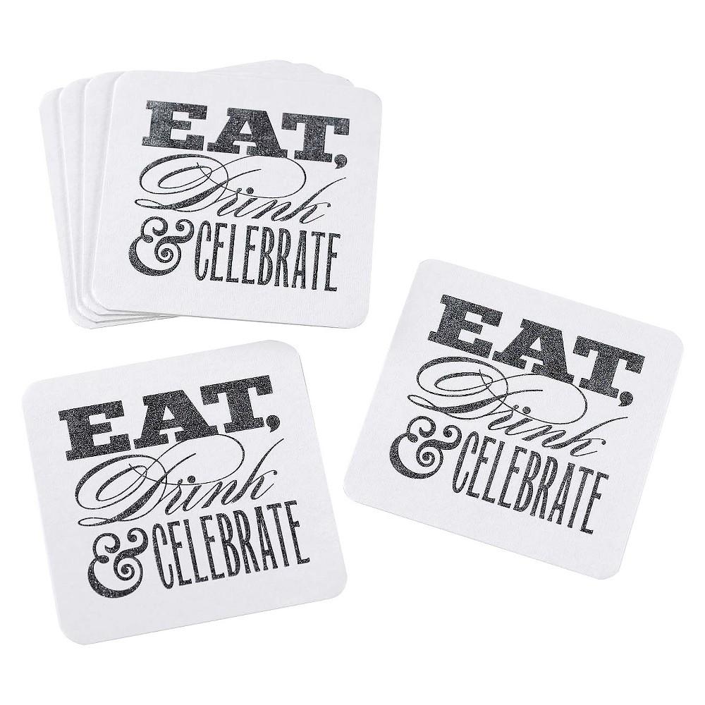 Image of Celebrate Glitter Coasters Set - White
