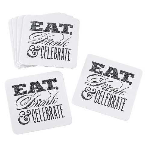 Celebrate Glitter Coasters Set - White - image 1 of 1