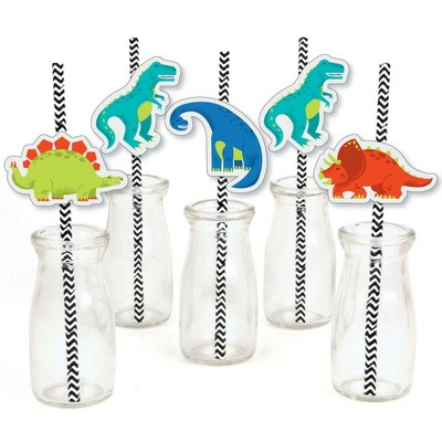 Big Dot of Happiness Roar Dinosaur - Paper Straw Decor - Dino Mite T-Rex Baby Shower or Birthday Party Striped Decorative Straws - Set of 24