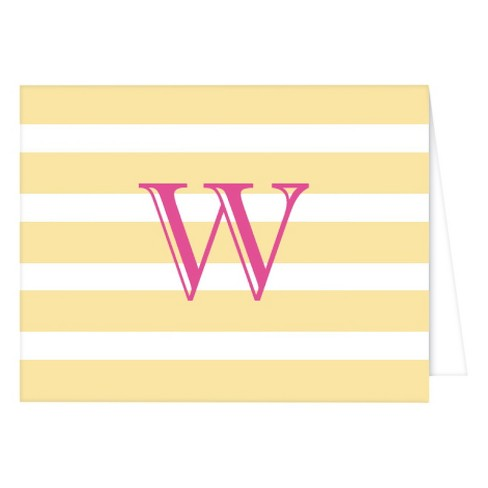 """W"" Monogram Cabana Stripe Folded Notes Collections Patel Yellow - image 1 of 1"
