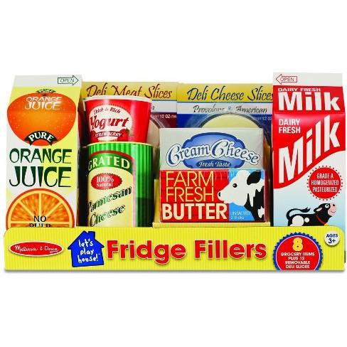Melissa Doug Fridge Groceries Play Food Cartons 8pc Toy Kitchen Accessories