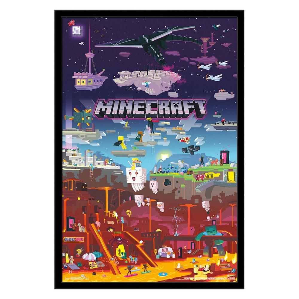 Minecraft - World Beyond Framed Poster Trends International, Multi-Colored