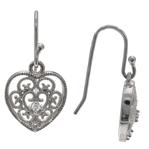 Women's Filgree Heart Drop Earrings with Clear Cubic Zirconia in Sterling Silver - Clear/Gray (25mm) - image 1 of 1