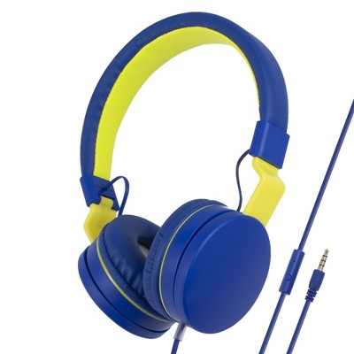 Insten Kids Headphones with Microphone Wired 3.5mm 85dB Safe Volume Limited On-Ear Earphones for Girls Boys Children, Blue