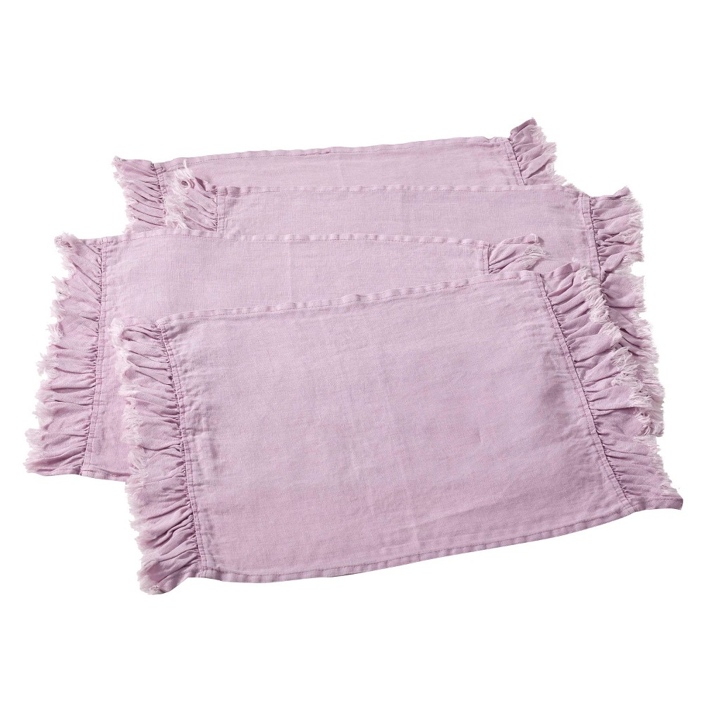 Ruffled Design Placemats Lavender Set Of 4