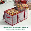 """OSTO Clear Plastic Christmas Ornament Storage Box Stores Up to 128 Ornaments of 3""""; 2-way zipper,Carry Handles. Tear Proof and Waterproof - image 2 of 4"""