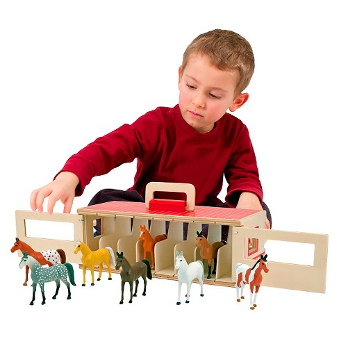 Melissa Doug Take Along Show Horse Stable Play Set With Wooden Stable Box And 8 Toy Horses