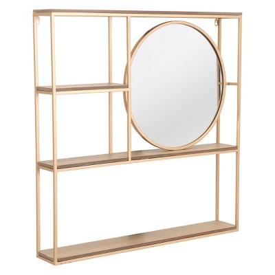 ZM Home 32  Luxe Geometric Shelf & Mirror Gold