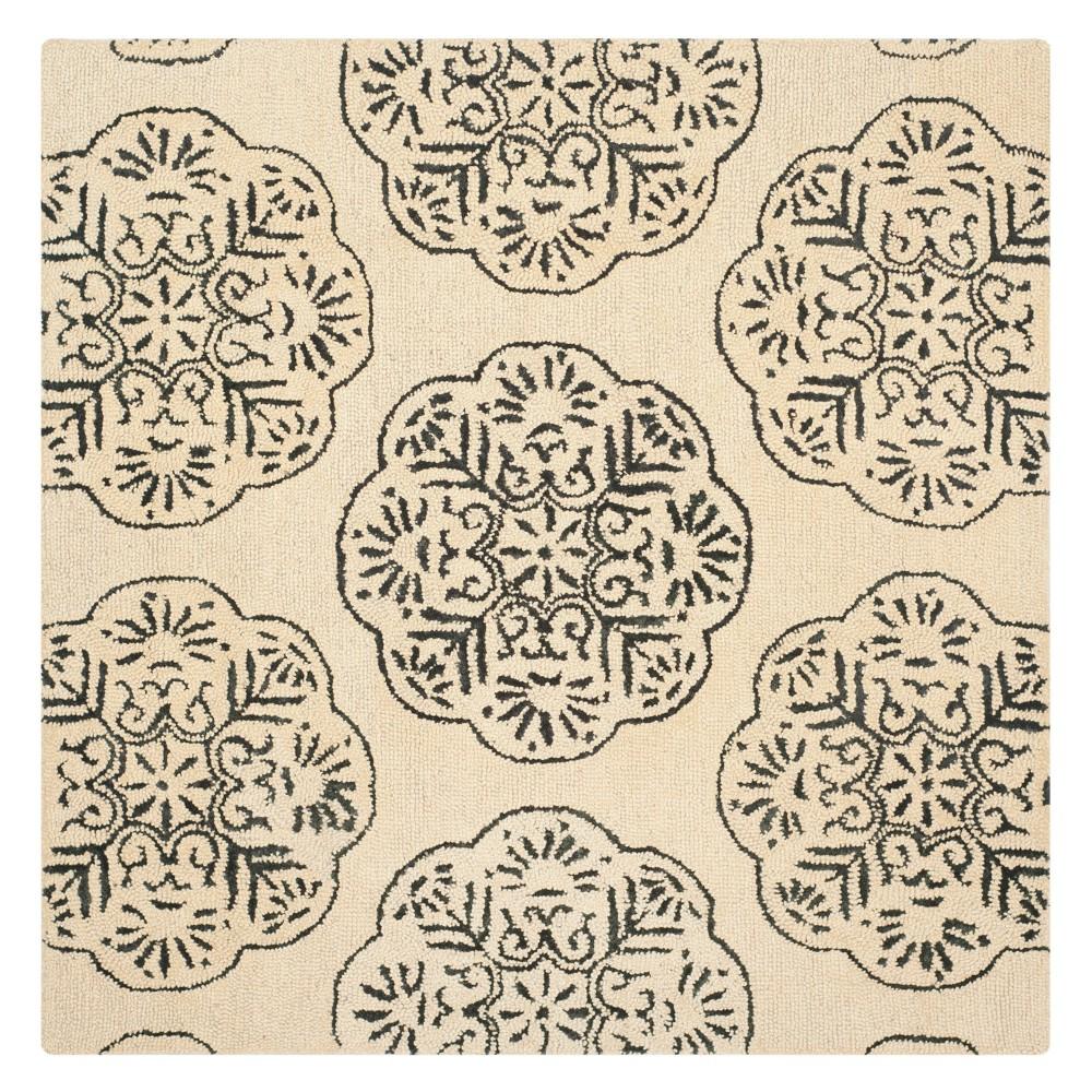 6'X6' Medallion Square Area Rug Ivory/Charcoal (Ivory/Grey) - Safavieh