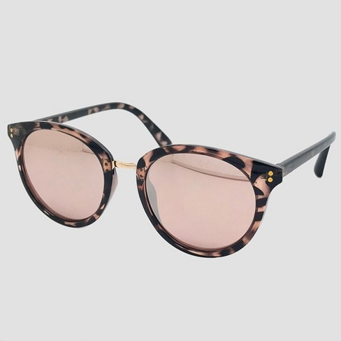 Women s Round Tort Sunglasses With Rose Gold Mirrored Lenses - Brown    Target 8dd1f6194b