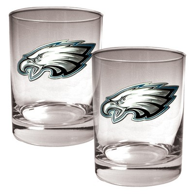 NFL 2pk Metal Emblem Rocks Glass Set