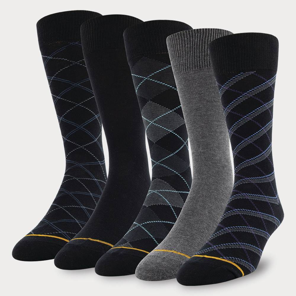 Signature Gold by GOLDTOE Men's Argyle Crew Socks 5pk - 6-12.5, Men's, Size: Small, Black Gray was $13.99 now $9.79 (30.0% off)