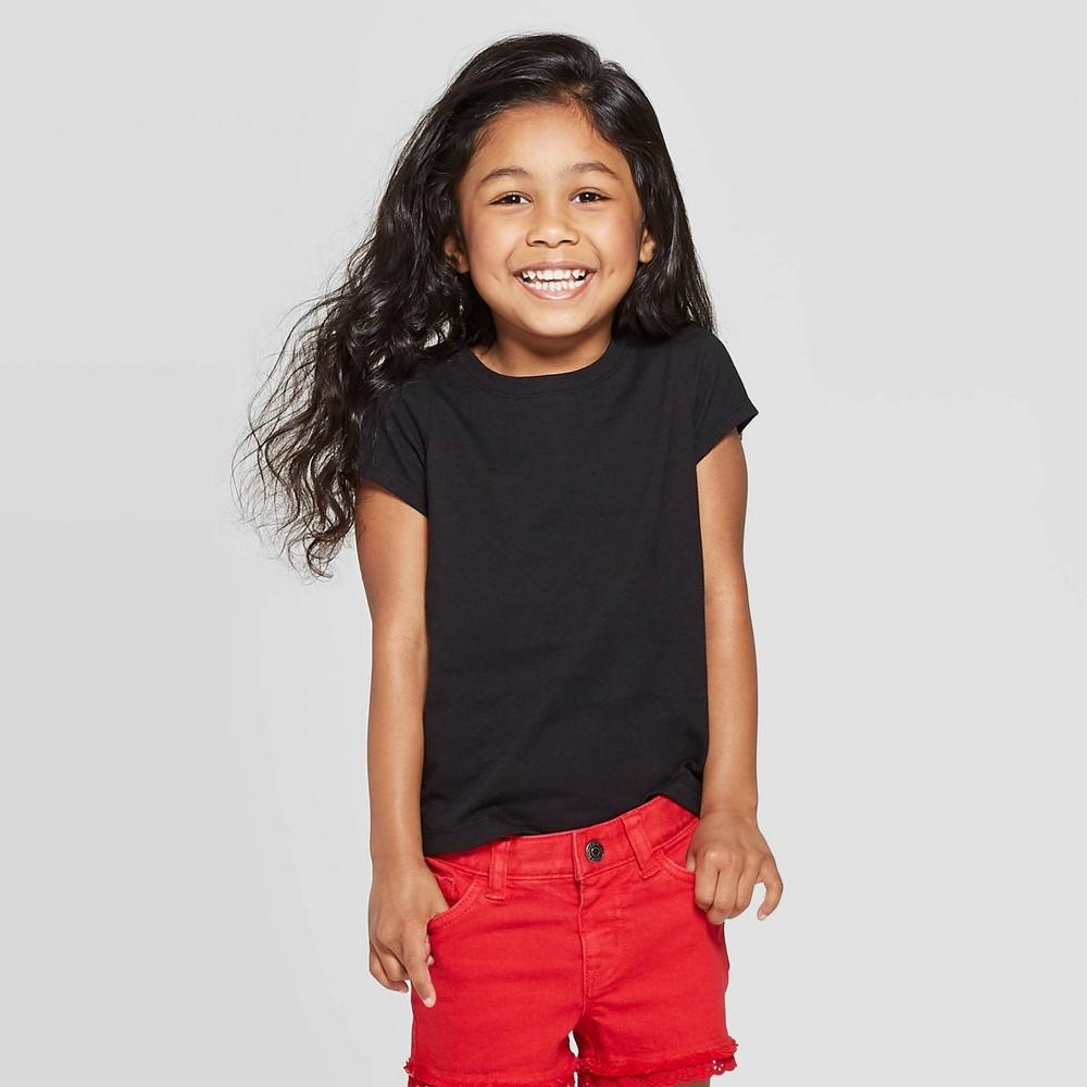 Toddler Girls Solid Short Sleeve T-Shirt - Cat & Jack Black 4T Coupons