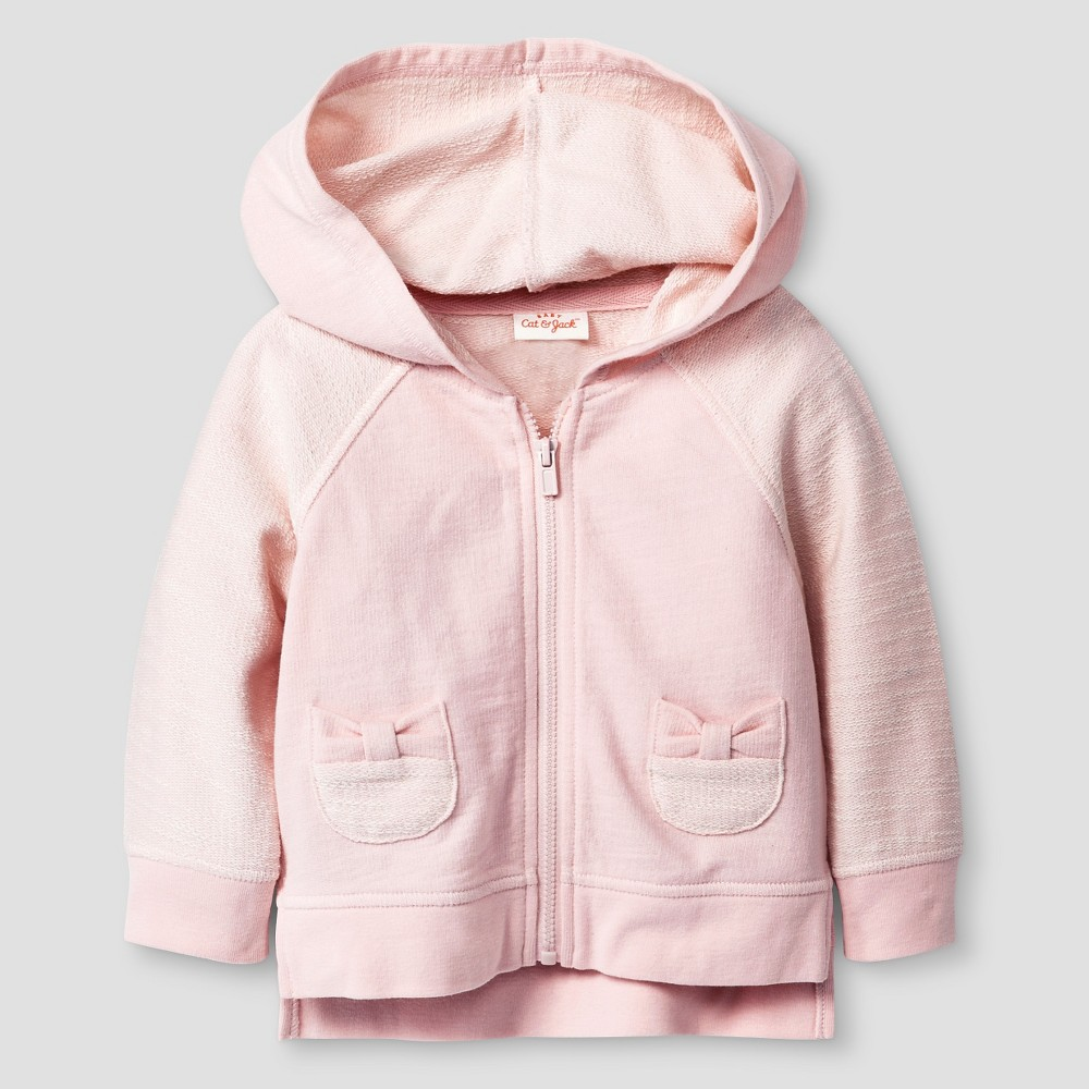 Baby Girls' Bow Pocket Hoodie - Cat & Jack Pink Newborn, Loring Pink