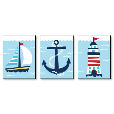 Big Dot of Happiness Lighthouse, Sailboat and Anchor - Boy Nursery Wall Art and Nautical Kids Room Decor - 7.5 x 10 inches - Set of 3 Prints