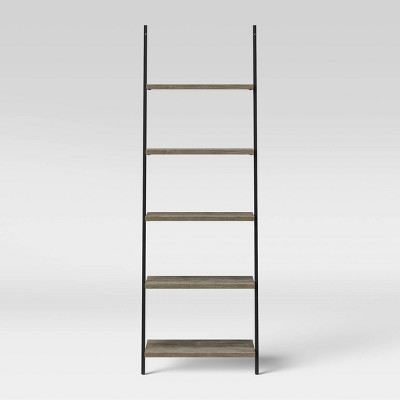 "72"" 5 Shelf Loring Leaning Bookshelf Gray - Project 62™"