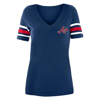 MLB Atlanta Braves Women's Pitch Count V-Neck T-Shirt