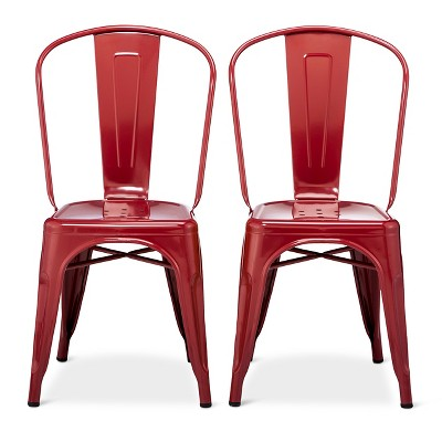 Carlisle High Back Metal Dining Chair Set of 2 - Red - Ace Bayou