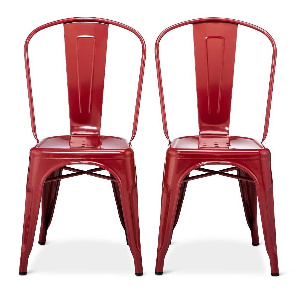Image of Carlisle High Back Metal Dining Chair Set of 2 - Red - Ace Bayou, Size: 2 Pack - Ships Flat