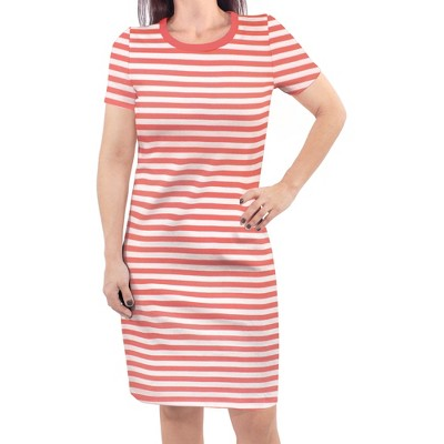 Touched by Nature Womens Organic Cotton Short-Sleeve Dress, Coral Stripe