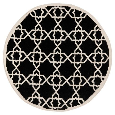 Tahla Dhurry Rug - Black/Ivory - (8'x8' Round) - Safavieh - image 1 of 3