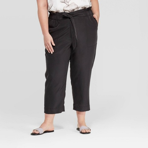 Women's Plus Size Mid-Rise Ankle Length Paperbag Waist Pants - Prologue™ - image 1 of 3