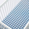 Crib Fitted Sheet Gingham - Cloud Island™ Blue - image 3 of 4